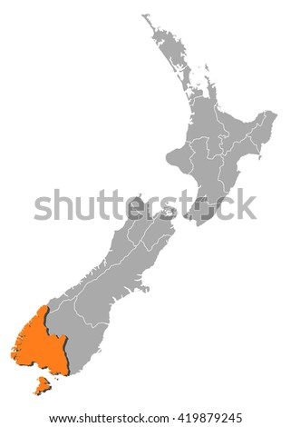 Map - New Zealand, Southland