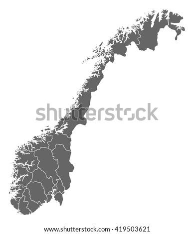 Map - Norway - stock vector