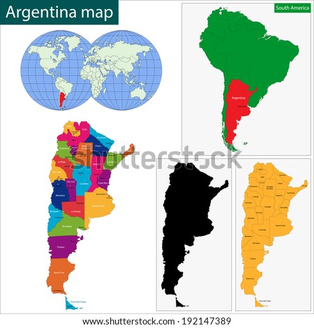 Map of administrative divisions of Argentina - stock vector