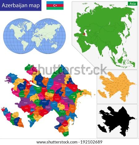 Map of administrative divisions of Azerbaijan - stock vector