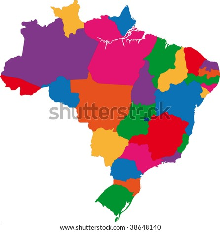 Map of administrative divisions of Brazil - stock vector