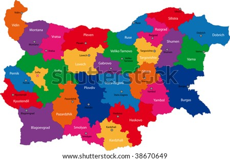 Map of administrative divisions of Bulgaria - stock vector