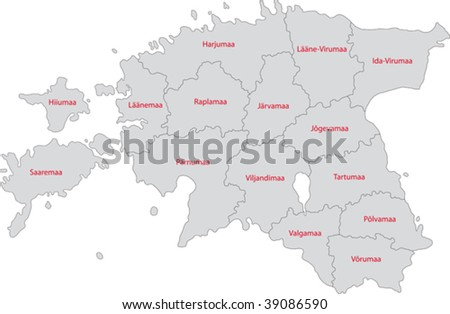 Map of administrative divisions of Republic of Estonia
