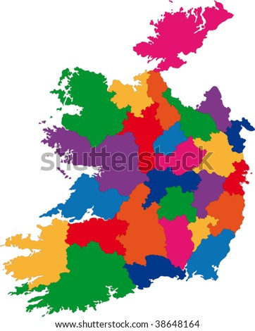 Map of administrative divisions of Republic of Ireland - stock vector