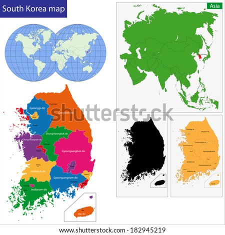 Map of administrative divisions of South Korea - stock vector