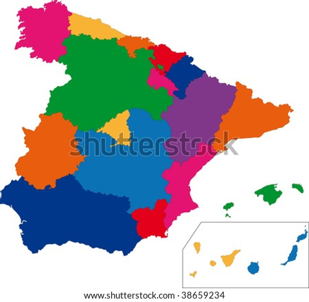 Map of administrative divisions of Spain - stock vector