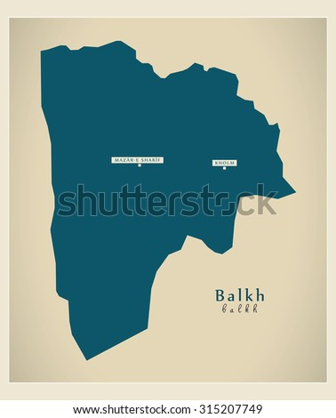 Map of Afghanistan province of Balkh