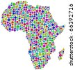 Map of Africa.  A number of 931 circles are inserted into the mosaic - stock photo