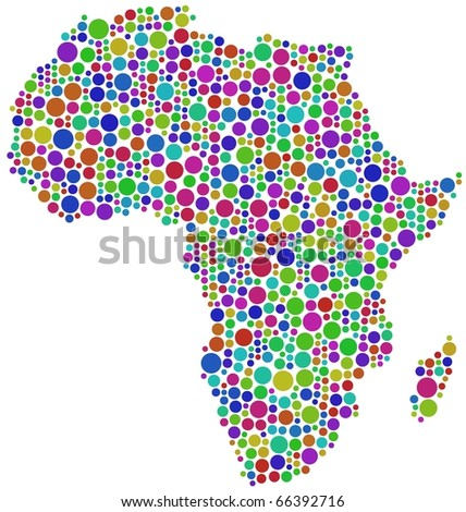 Map of Africa.  A number of 931 circles are inserted into the mosaic - stock vector