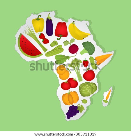 Map of Africa full of fruits and vegetables. Green background. - stock vector