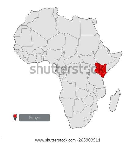 Map Africa Kenya Stock Vector 265909511 - Shutterstock
