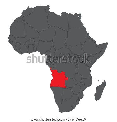 Map of Africa on gray with red Angola vector - stock vector