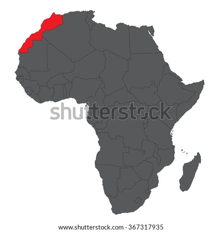 Map of Africa on gray with red Morocco vector - stock vector