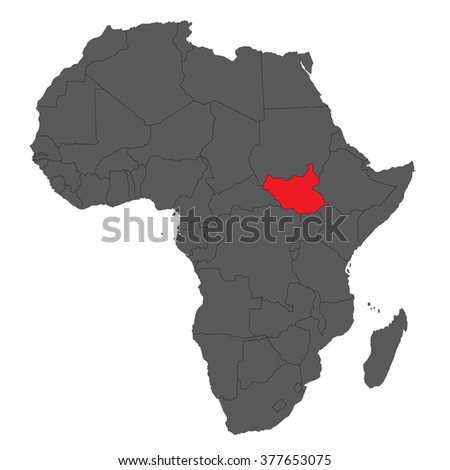 Map of Africa on gray with red South Sudan vector  - stock vector
