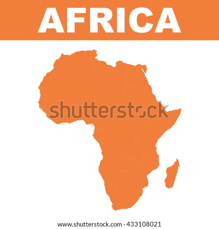 Map of africa. Vector flat - stock vector