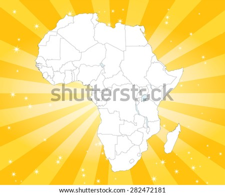 Map of Africa with Captivating Background - stock vector