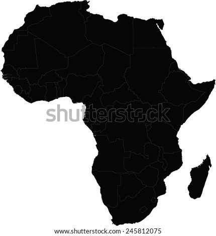 Map of Africa with country borders - stock vector