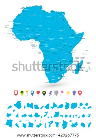Map of Africa with it's states and flat map pointers isolated on white. - stock vector