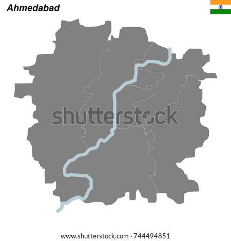 Map Ahmedabad City Borders Districts Stock Vector HD Royalty Free