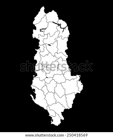 map of Albanian - stock vector