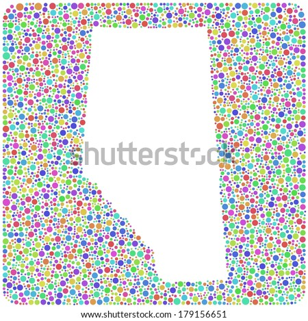 Map of Alberta - Canada - into a square icon. Mosaic of harlequin circles - stock vector