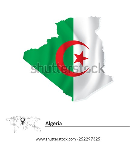 Map of Algeria with flag - vector illustration - stock vector