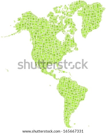 Map of America Continent in a mosaic of green squares. A number of 4153 little squares are accurately inserted into the mosaic. White background.