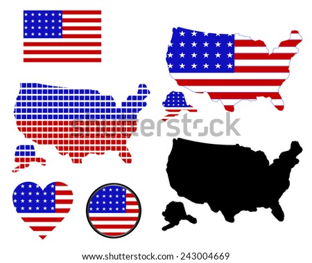 map of america of different colors on a white background - stock vector