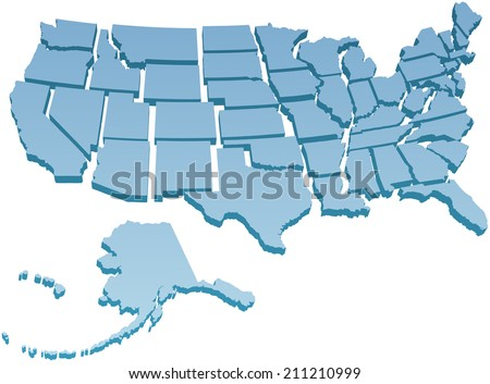 Map of America USA with the fifty individual states separated  - stock vector