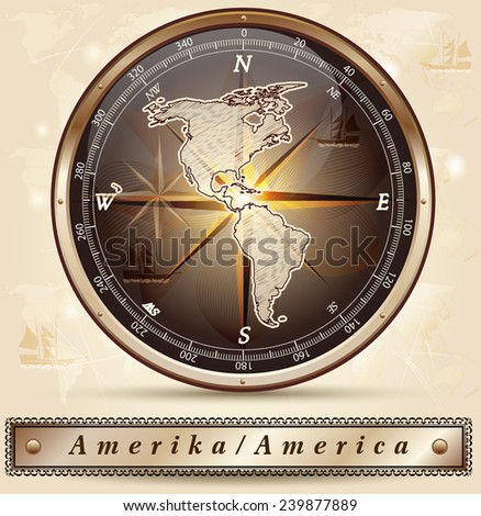 Map of America with borders in bronze - stock vector