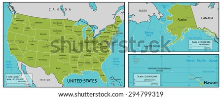map of America with state names, capitals and other major citieS. Colors and strokes easily changed. Vector Layers: Keys, state names, capital markers, capital names, longitude latitude lines and more - stock vector