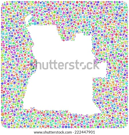 Map of Angola - Africa - into a square icon. Mosaic of harlequin bubbles - stock vector