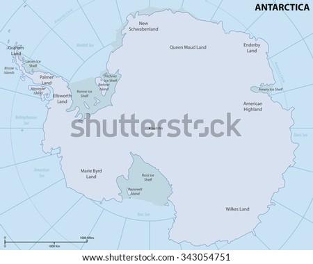 Map of Antarctica - stock vector