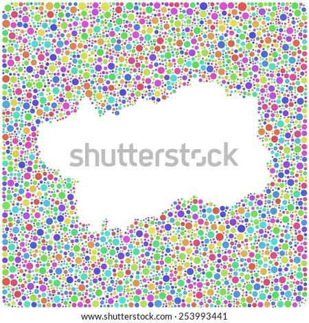 Map of Aosta Valley - Italy - into a square icon. Mosaic of harlequin circles - stock vector