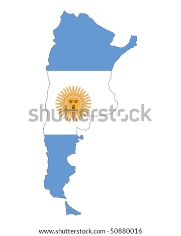 map of Argentina filled with flag of the state - stock vector