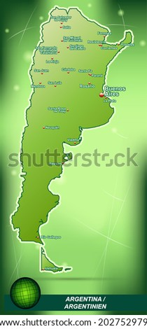 Map of Argentina with abstract background in green - stock vector