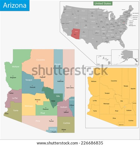 Map of Arizona state designed in illustration with the counties and the county seats - stock vector