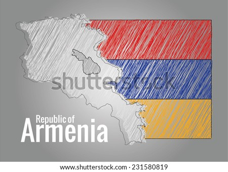 Map of Armenia and flag with scribbles, vector - stock vector