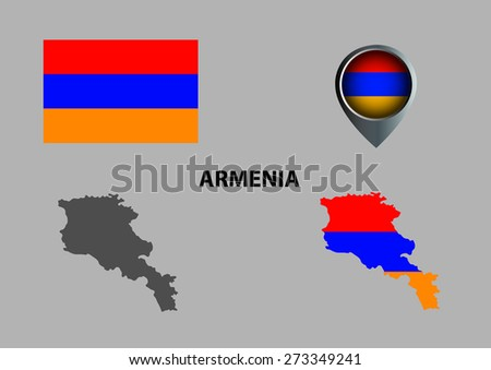 Map of Armenia and symbol