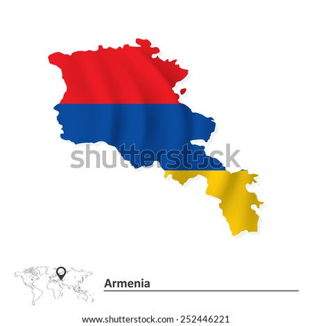 Map of Armenia with flag - vector illustration - stock vector