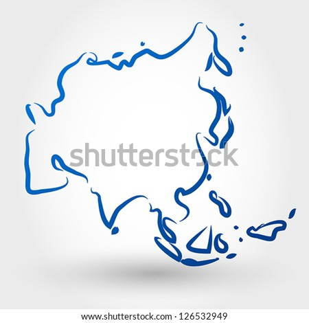 map of asia. map concept - stock vector