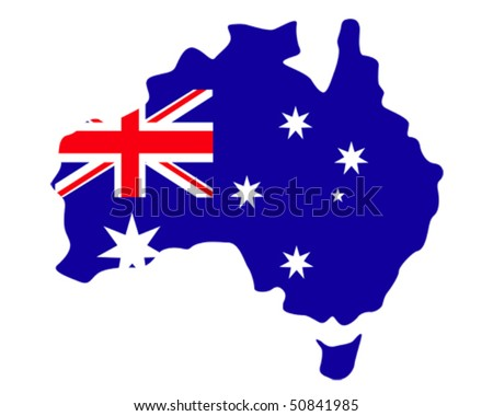 map of Australia filled with the flag of the country - stock vector
