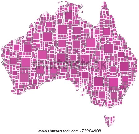 Map of Australia in a mosaic of squares - stock vector