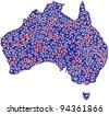 Map of Australia in a mosaic of triangles - stock vector