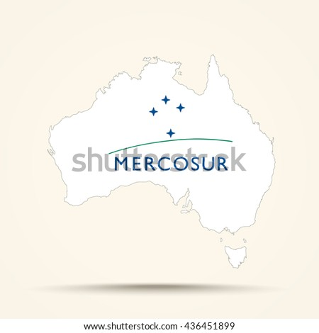 Map of Australia in Mercosur flag colors