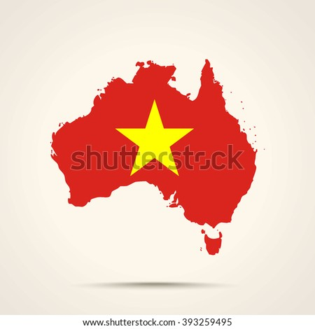 Map of Australia in Vietnam flag colors - stock vector