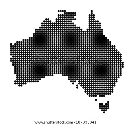 Map of Australia made from black and grey dots (vector) - stock vector