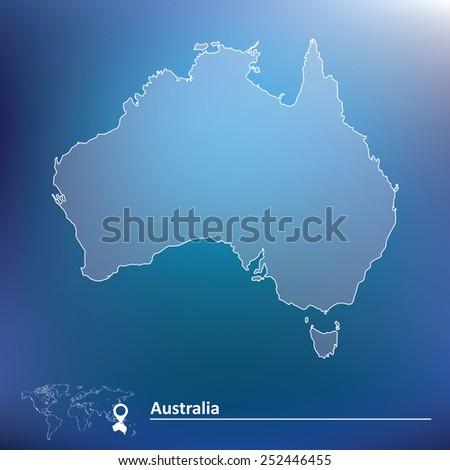 Map of Australia - vector illustration - stock vector