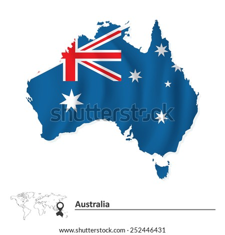Map of Australia with flag - vector illustration - stock vector