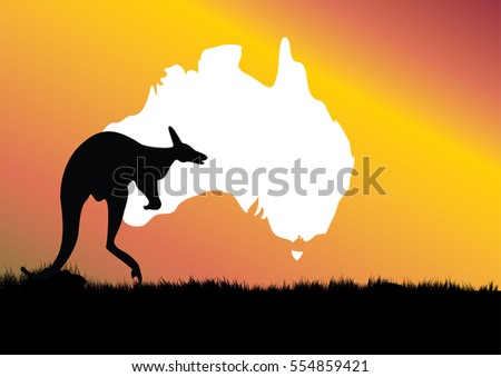 map of Australia with kangaroo in the foreground